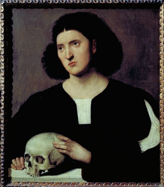 Portrait of a Young Man holding a Skull