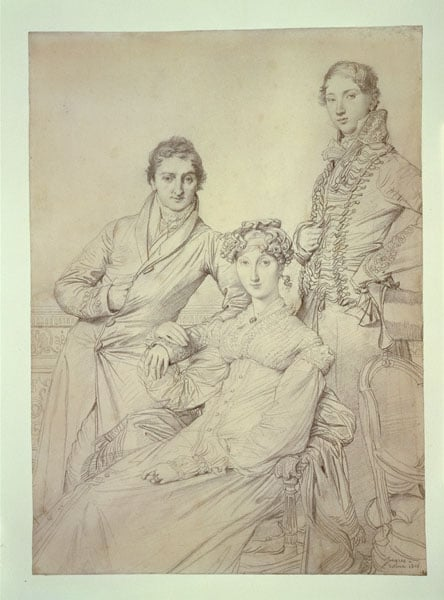 Portrait of Mr and Mrs Woodhead and Mr Henry Comber in Rome