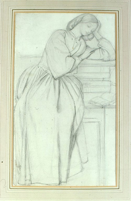 Girl leaning on a Mantelpiece
