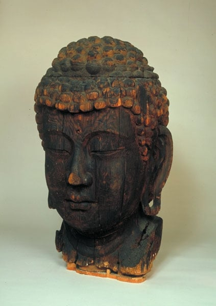Carved Wooden Head of Buddha