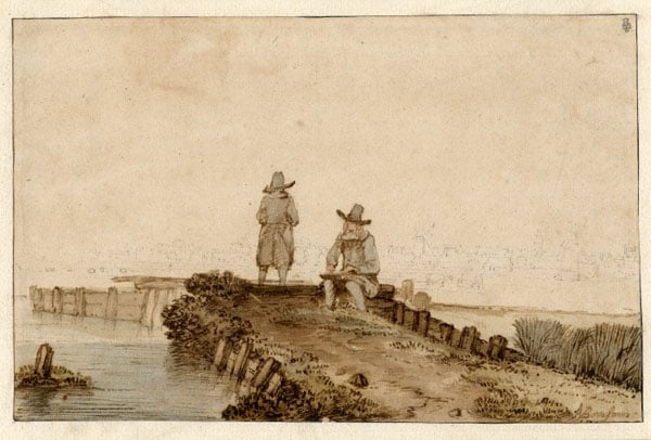 Two artists on a jetty