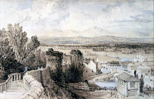 View of the walls of Chester, looking towards Wales
