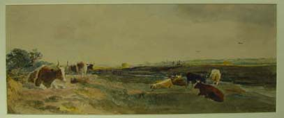 Landscape with Cattle & panel of tiles