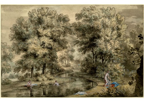 Landscape with ladies bathing