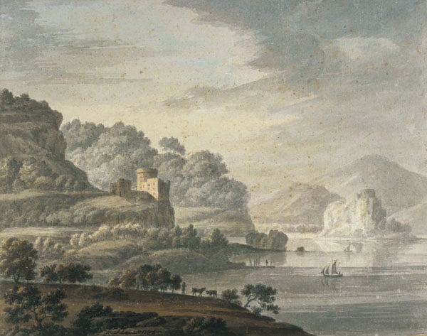 Landscape with a Castle, Lake and Sailing Boats