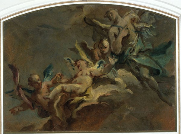 Study of Two Figures in Adoration & Floating Putti