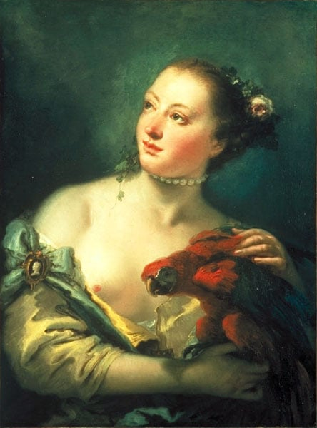 Young Woman with a Macaw