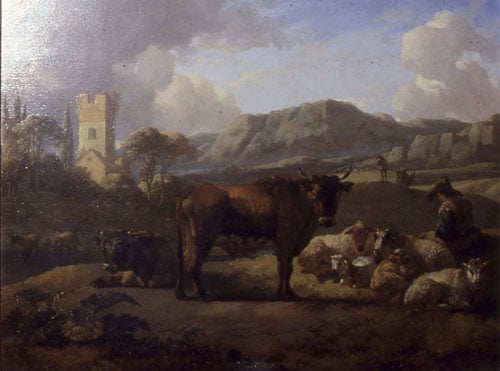A Hilly Landscape with Herdsmen and Cattle