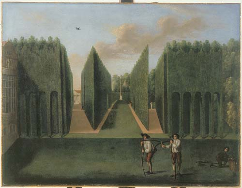 Topiary Arcades and Shutters to the George II Column with part of House and Gibbs' portico building
