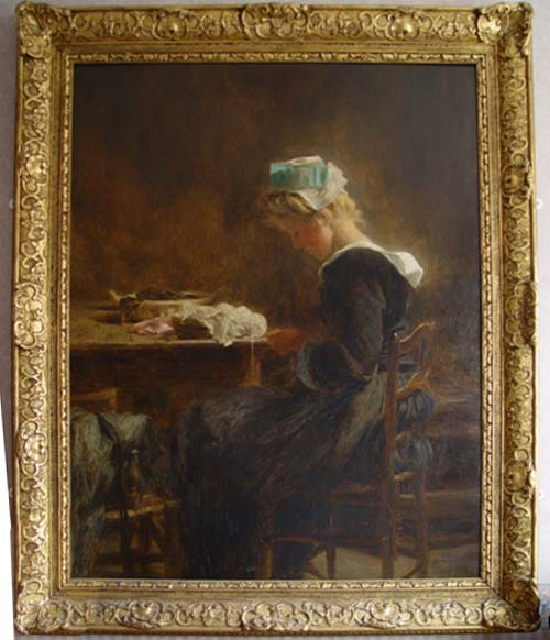 Girl Seated at a Table Sewing