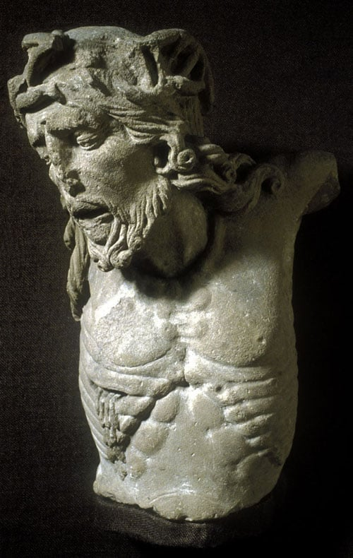 Head and upper body of a Crucified Christ