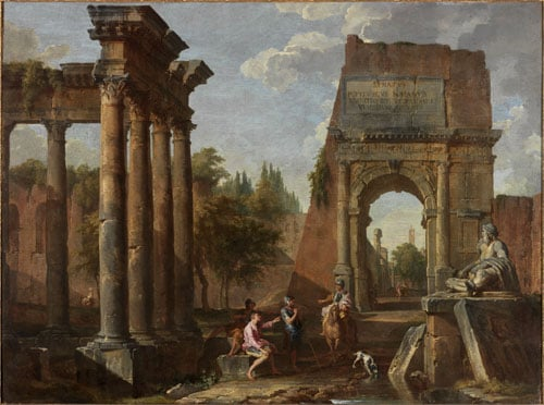 Roman Ruins with Figures & Arch of Titus with Figures