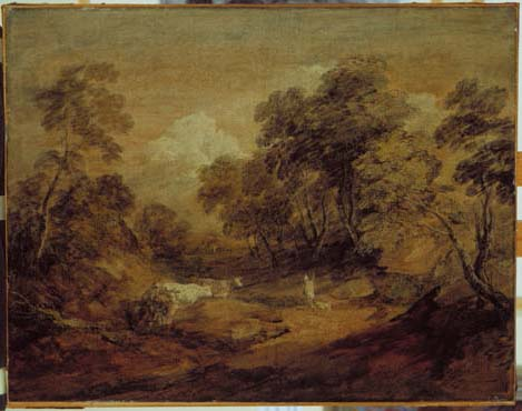 Wooded Landscape with Figures and Cattle