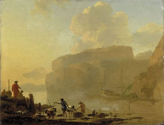 Coastal scene with Lobster Catchers