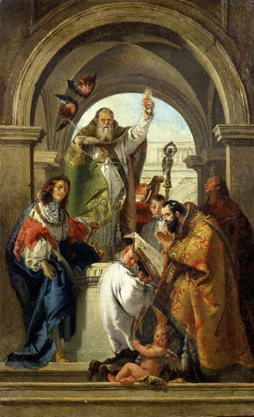 SS. Augustine, Louis of France, John the Evangelist and a Bishop Saint