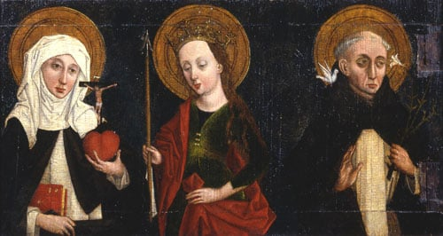 Two painted panel wings of saints