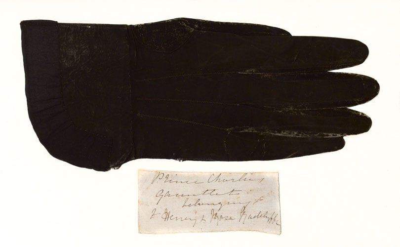 A glove and map of Charles Stuart, The Young Pretender