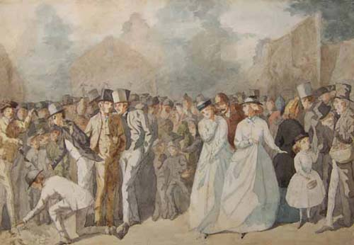 Crowd Scene & A Crowd with Toffs and Soldiers
