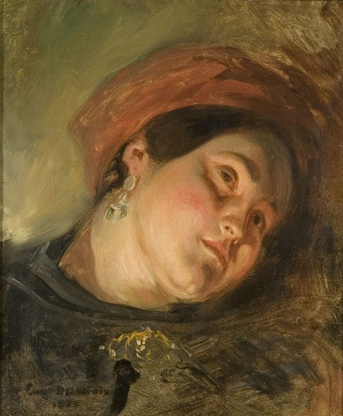 Head of a Woman in Red Turban By Lamplight