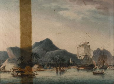 3 paintings of HMS Resolution and HMS Discovery