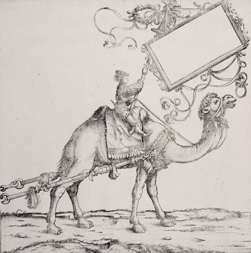Bactrian Camel with a Rider Holding a Cartouche