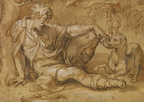 St Roch being fed by a Dog