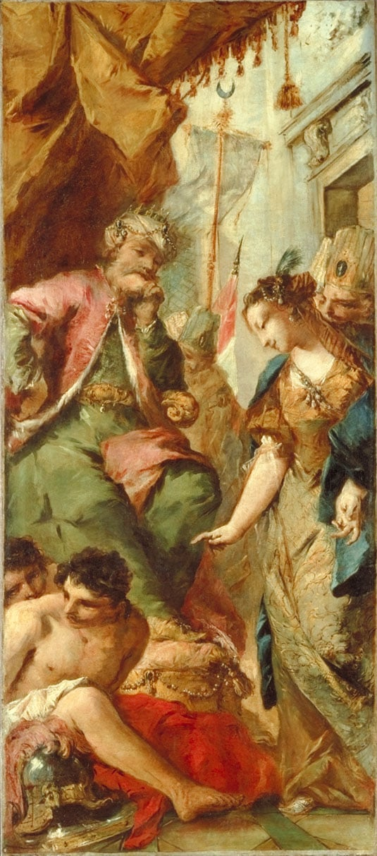 Sophronia asking  the Saracen King Aladine to Release the Christian Prisoners
