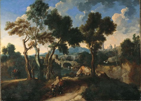 Landscape with Figures and a Capriccio of a Town