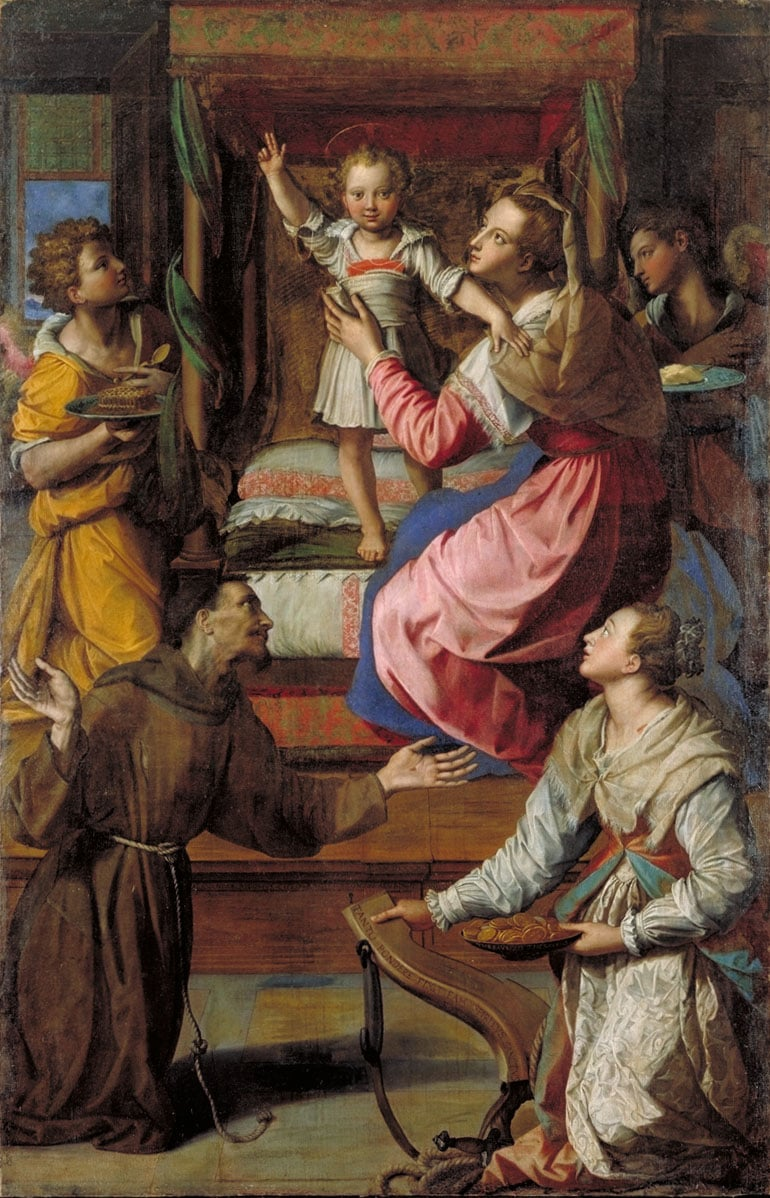 Madonna and Child with Saints Francis, Lucy and attendant Angels