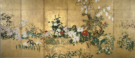 Pair of six-fold screens: Flowers of the Four Seasons