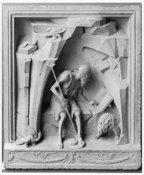 Relief of St Jerome Reading in a Cave