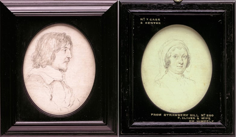Miniature portrait of Peter Oliver, & portrait of his wife, Anne on the reverse