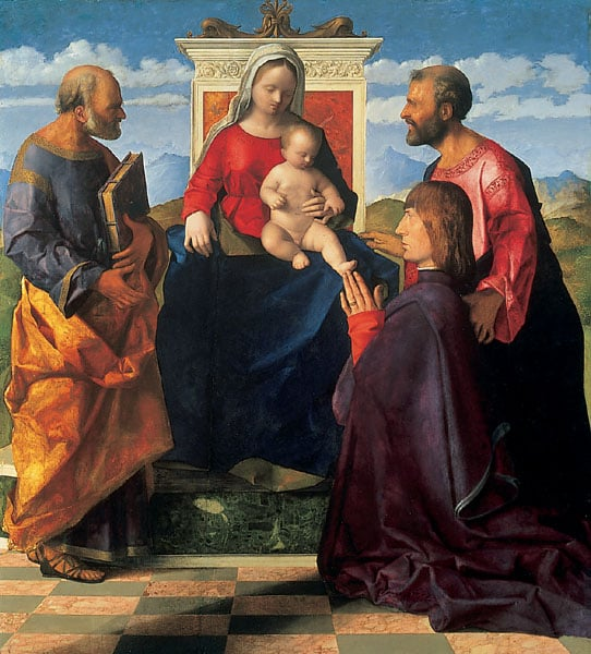 Madonna enthroned with SS Peter and Mark and a Donor