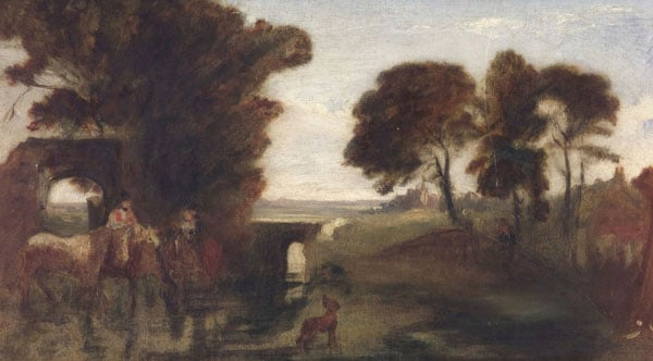 Horses and Figures by a Ford