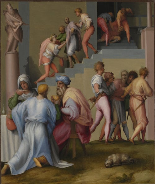 Joseph sold to Potiphar & Pharaoh with his Butler and Baker & Joseph's brothers beg for help