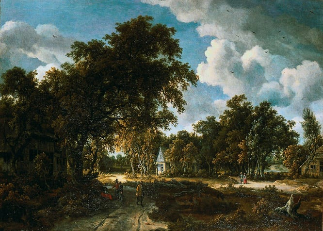 Wooded Landscape with Cottages among Trees
