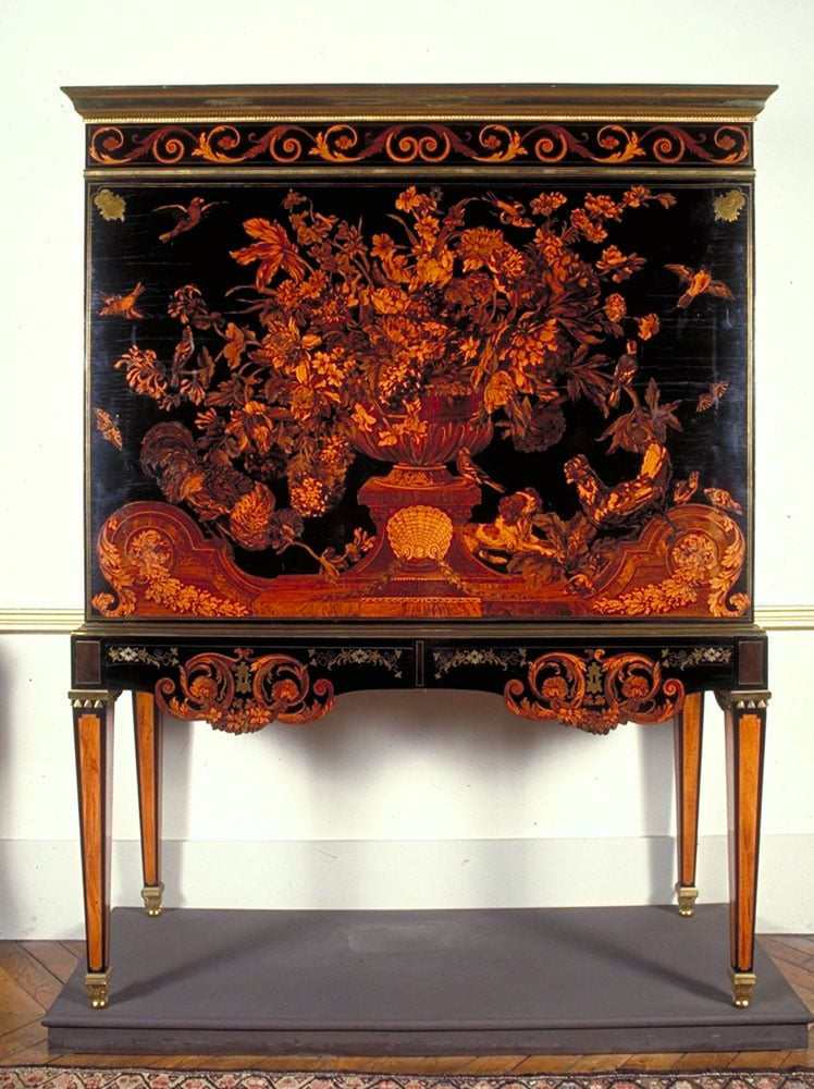 Still-life marquetry panel incorporated into 'The Warwick Cabinet'
