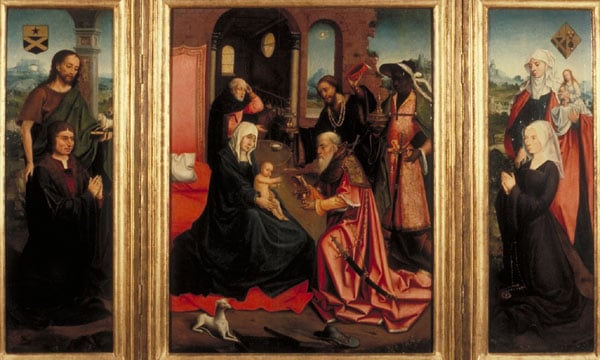 The Adoration of the Magi, with St John the Baptist, St Anne and Donors