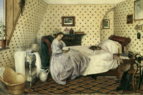 A Young Woman Reading in an Attic Bedroom