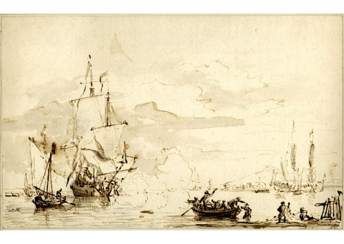 A Coast Scene with Warships Firing a Salute