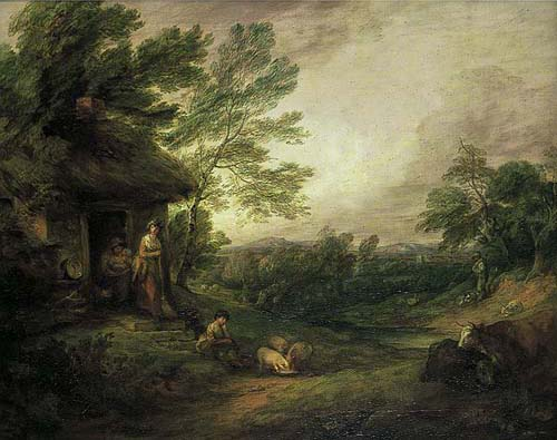 The Cottage Door with Girl and Pigs