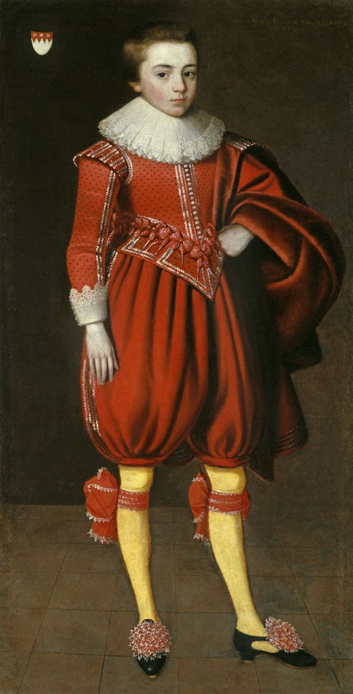 Portrait of a boy with the Perceval family coat of arms