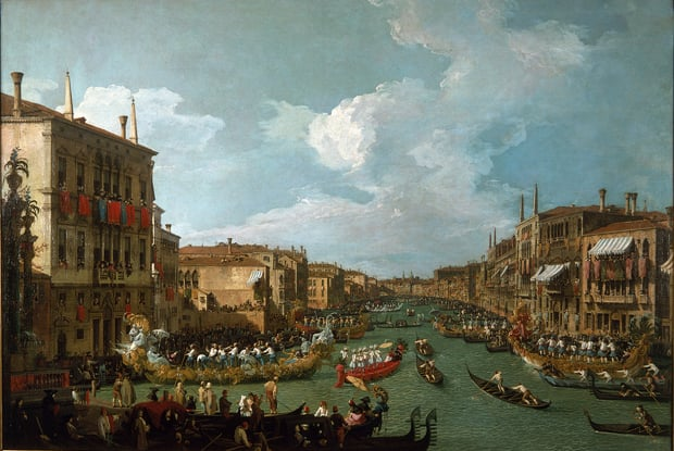 The Bucintoro Returning to the Molo & A Regatta on the Grand Canal
