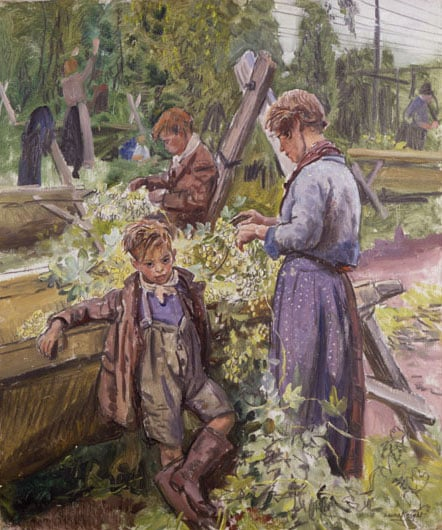 Hop-picking Granny - Portrait of Granny Knowles & Hop-picking No1