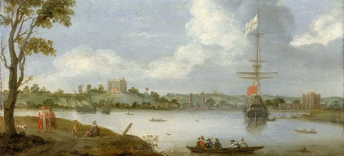 Greenwich Palace from the North-East, with a Man-o'-War