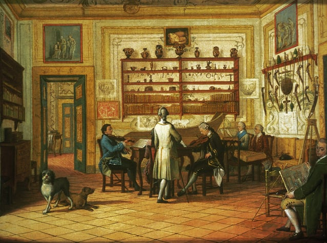 Kenneth Mackenzie, 1st Earl of Seaforth, at home in Naples: Fencing Scene & Concert Party