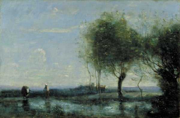 A Watering Place in Marshland with a distant Tower