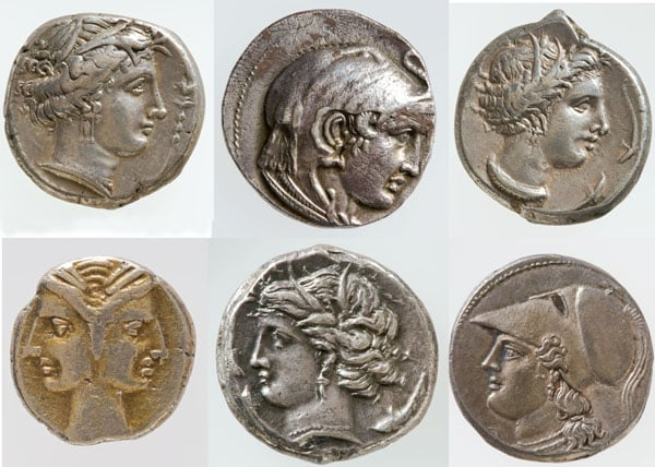 Collection of Ancient Greek coins, British gold sovereign and American 'double eagle' coins