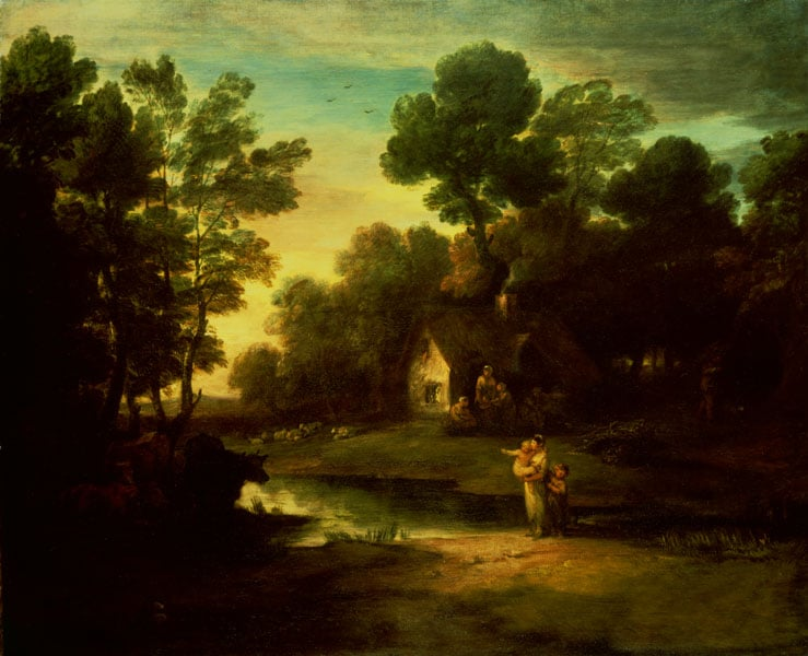 A Wooded Landscape with Cattle by a Pool and Rustics outside a Cottage