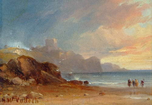 Seascape with Castle and Figures